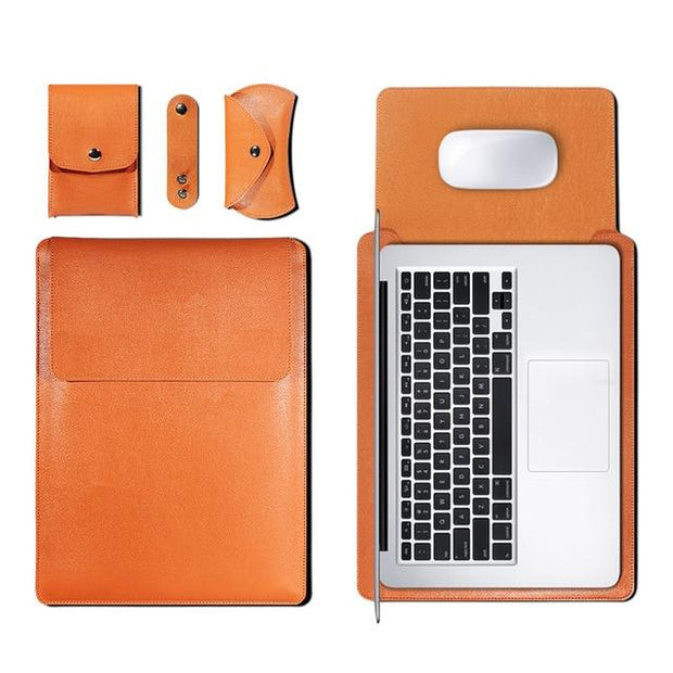 Mouse Pad Pouch Notebook Bag for Xiaomi Macbook Air 11.6 12 13 Cover Retina Pro 13.3 15 15.6 PU Leather Laptop Sleeve Case Funda