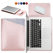 Laptop bag case Soft Leather Sleeve for MacBook Pro  Air 11.6 12 13 15 Dual Pocket with Safe Interior Exterior Mouse Pad