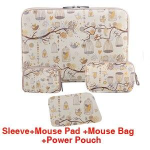 PU Laptop Sleeve + Mouse Pad & Power Pouch Notebook Case for Funda Apple iPad HP Macbook Sony Dell 7.9 9.7 10 11.6 12 13.3 15.6