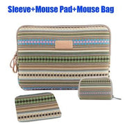 Striped Cavas Laptop Sleeve+Mouse Pad & Power Pouch Notebook Tablet Bag Case for Funda Apple iPad Mini Air For HP Macbook Xiaomi