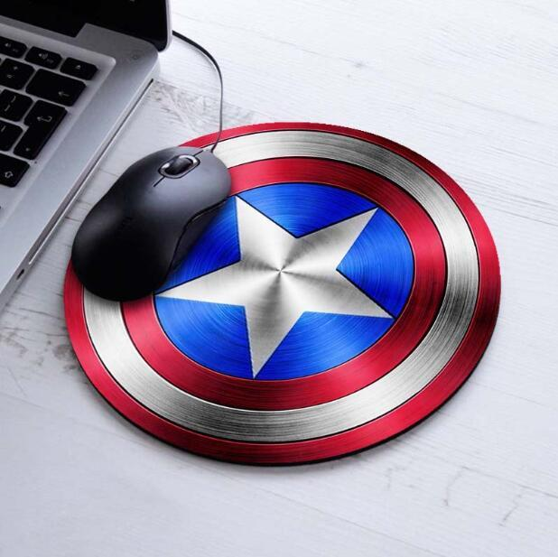Personality Captain America Design Painting Round Mouse Pad Super Hero Series Computer Laptop Gaming Optical Mousemat