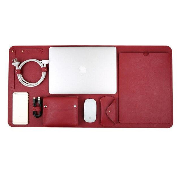 5 in 1 Set Luxury PU Leather Laptop Bag for Macbook Air Pro Retina 11 12 13 15 Case Notebook Cover Charger Mouse Pouch Mouse Pad