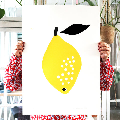 SILKSCREEN LEMON WITH BLACK