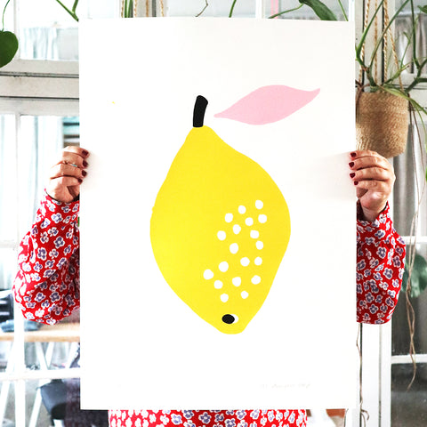SILKSCREEN LEMON WITH PINK