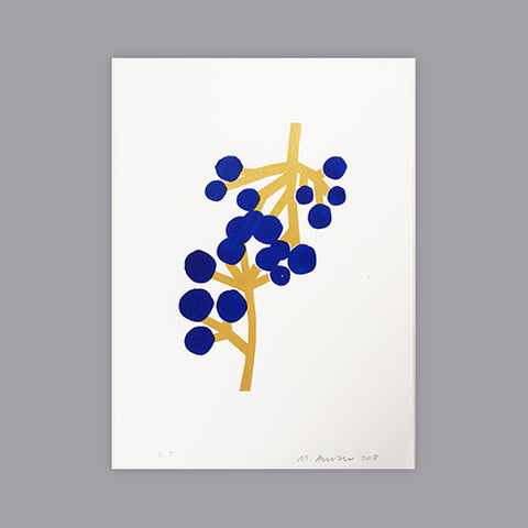 SILKSCREEN PRINT BERRIES GOLD/BLUE