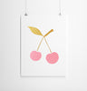 SILKSCREEN PRINT PINK/GOLD CHERRY