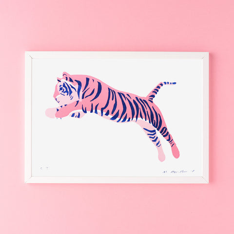 SILKSCREEN PRINT JUMPING TIGER