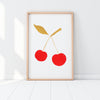 SILKSCREEN PRINT RED/GOLD CHERRY