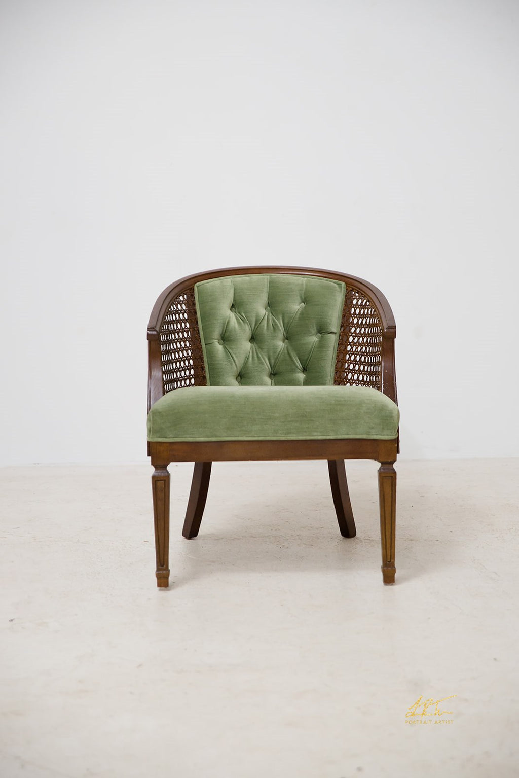 Velvet Collage Chair - Lime