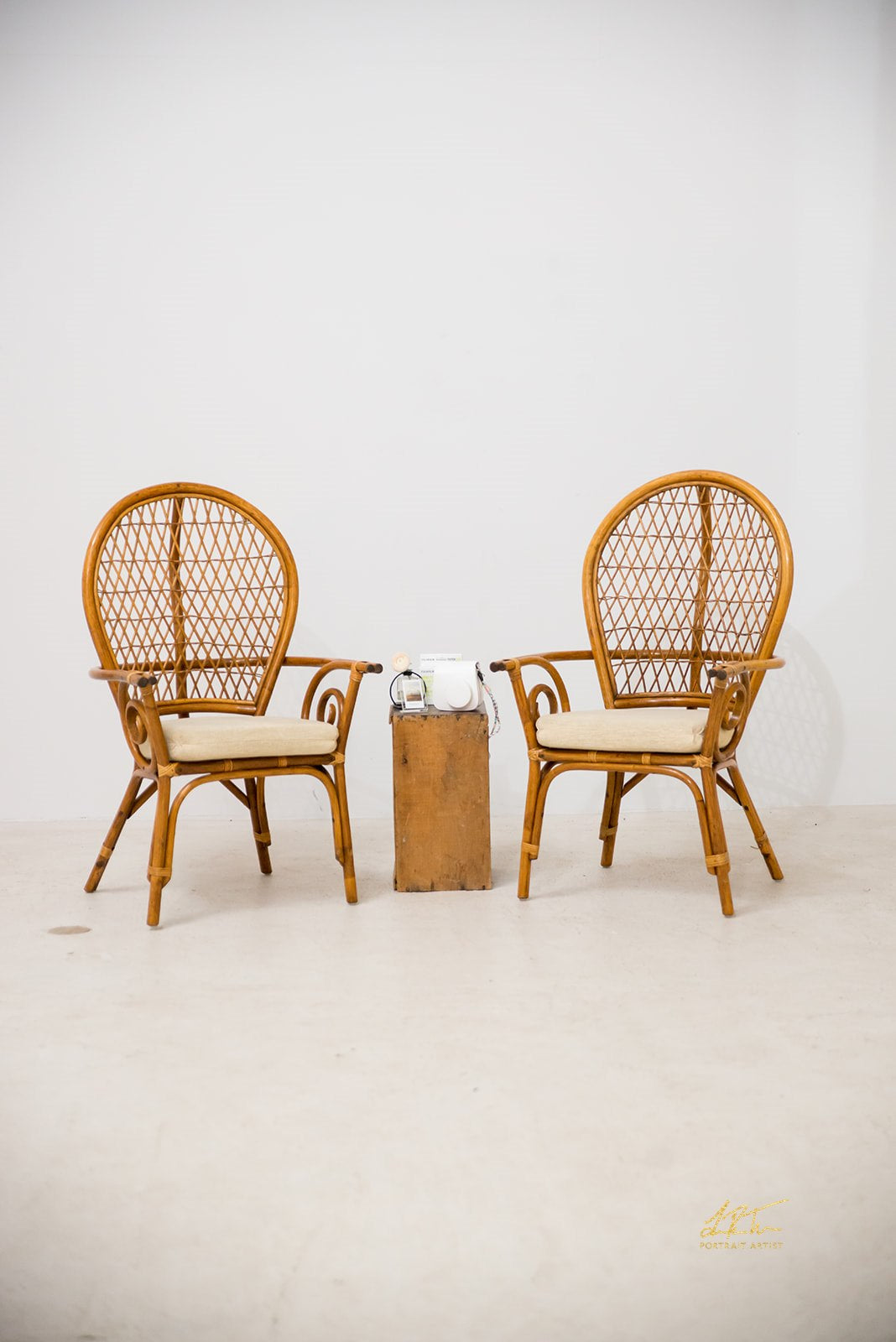 His & Hers Rattan Chairs