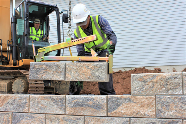 BL-450 setting multiple cell retaining wall blocks with ease!