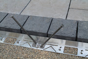Hybrid Edging showing the connection piece to connected each piece of aluminum edging together.  For a dense grade hardscape edging solution