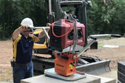 High Flow 200 E by Optimas is an electric vacuum lift solution unit for lifting wall block, slabs and other materials for the hardscaping industry
