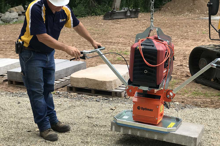 HF200E Paver Suction Tool unit by Optimas is an electrical unit suction equipment for lifting slabs and block as a two man handle or using an excavator for the hardscaping industry