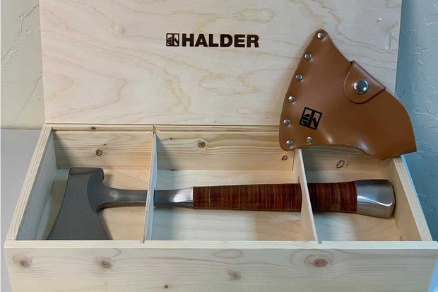 Halder Hammer Full Steel Hatchet sold by Pave Tool with Sheath and Wooden Gift Box