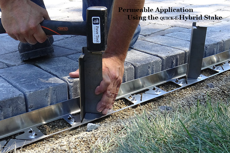 Quick-E-Hybrid Edging with the Quick-E-Hybrid Stake for Permeable Applications