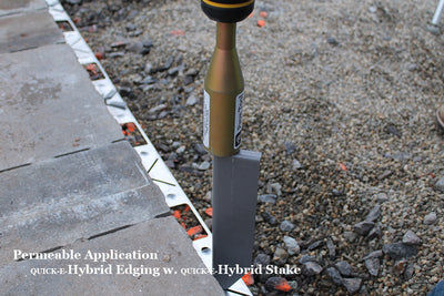Quick-E-Hybrid Stake, Hybrid Edging, Edge Restraint, Paver Edge Restraint, Patio Edge Restraint, Driveway Edge Restraint, Permeable Edging, Permeable Edge Restraint, Hybrid Edge, Hybrid Edging, Dense Grade Edging