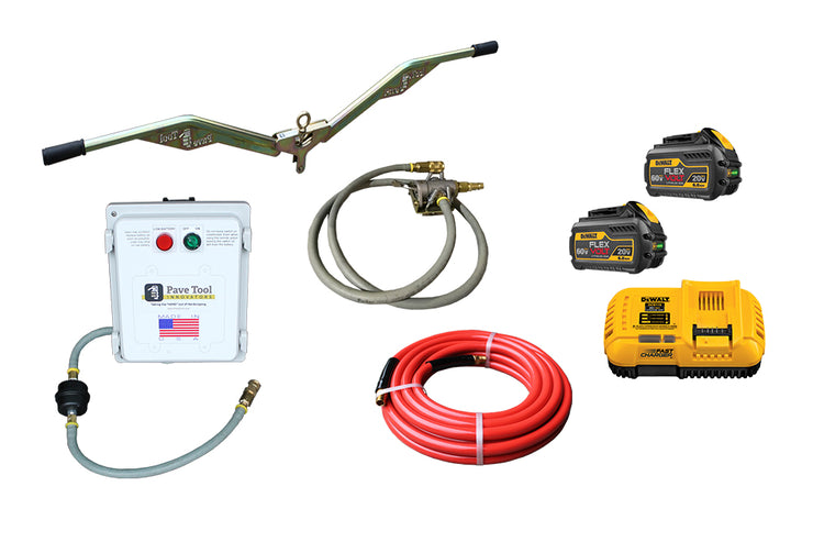 Elite Suction Manual Package sold by PAVETOOL  consists of the Power Pack, Ergo Assist, Toggle, Hose and two batteries with a one hour quick charge
