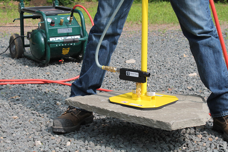 Paver Tool Innovators ES T-Handle Paver Package D2 T-Handle with pads, venturi and hose attaches to a compressor to pick up products for the hardscaping industy.