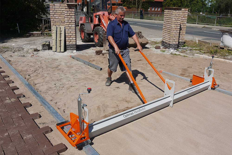 The Optimas Mini Screed sold by Pave Tool is a screeding tool for hardscapers for commercial projects