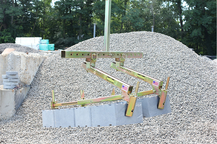 Quick-E-Multi Block Lift Attachment, Multiple Block Clamps, Holds Multiple Quick-E-BL 450s to pick up Retaining Wall Block using an Excavator