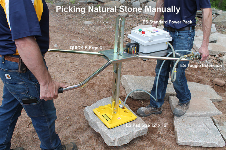 ES Pad Size 12x12 has a weight rating of 470 lb. 155lb weight rating when picking vertical. Using the ES Pad Size 12x12 with the Quick-E-Ergo XL, ES Power Pack Insert, ES Standard Power Pack and ES Toggle switch to pick up Natural Stone.