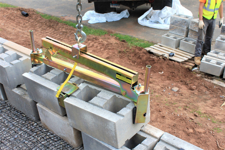 BL-450 with wedge attachment for spacing retaining wall block.