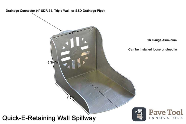 Retaining Wall Spillway Cut Sheet including dimensions, gauge and installation instructions