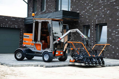 Optimas t-22 large paver laying equipment for commercial markets picks up one layer of pallet at a time