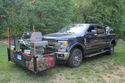 Plow mount organizer with grill, wood, gas, generator, chairs and misc.