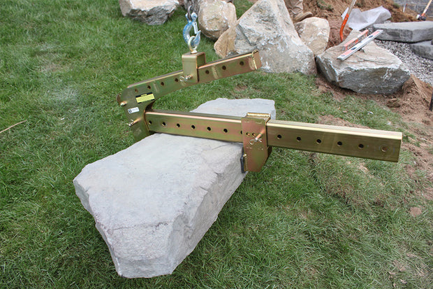Use the BL-980 with an excavator to lift step treads or retaining wall block easily, BL-980 Block Clamp, Lifting Tool, Hardscape Tool