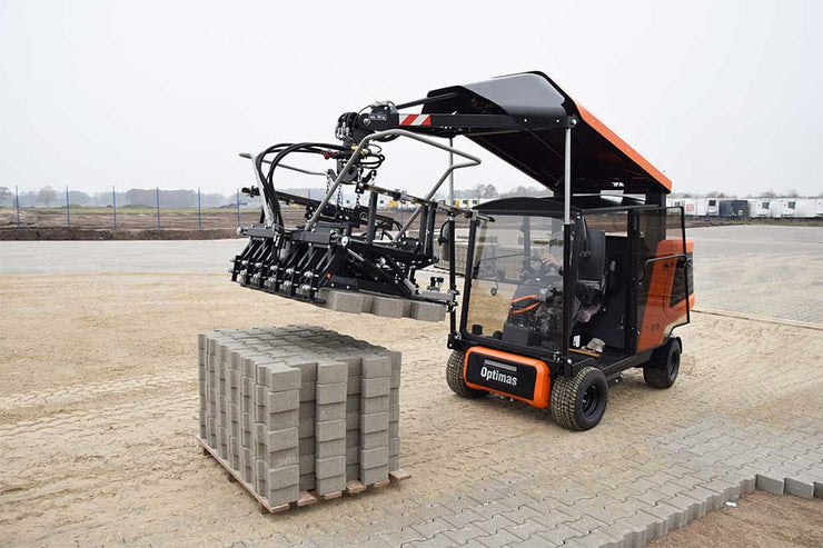 Optimas s19 sold by Pave Tool Innovators is the New Generation Paver Laying Machine that is the fastest most ergonomic and powerful in the world!