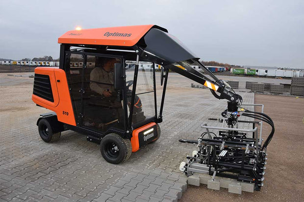 Optimas S19 is large paver laying equipment used by the commercial market for laying full layers of pavers from a pallet