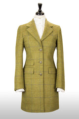 Great Scot Brianna Coat Jacket Light Green Check Tweed Long