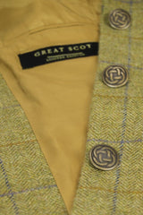 Great Scot Brianna Coat Jacket Light Green Check Tweed Long Celtic Bronze Button Detail