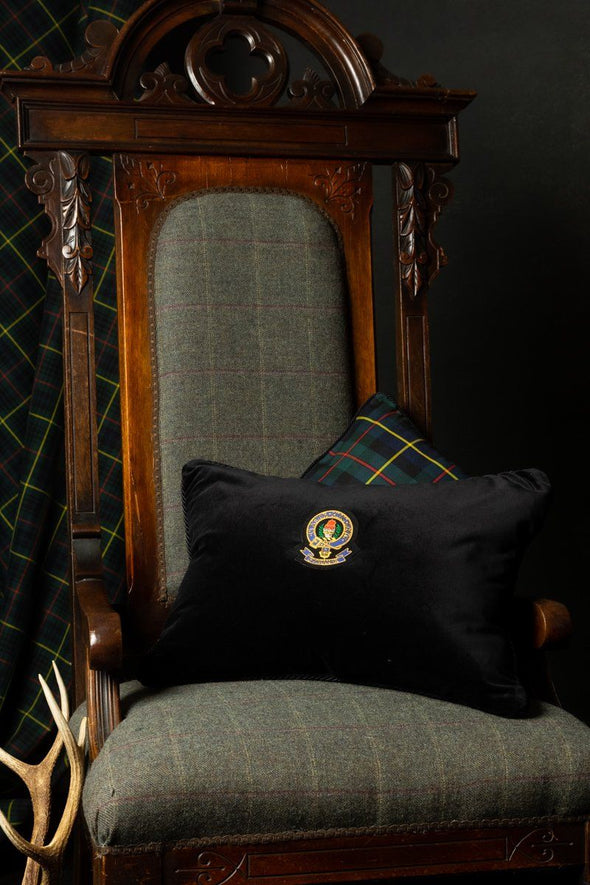 Luxury Heraldic Velvet & Tartan Cushion (Fine-wool tartans)