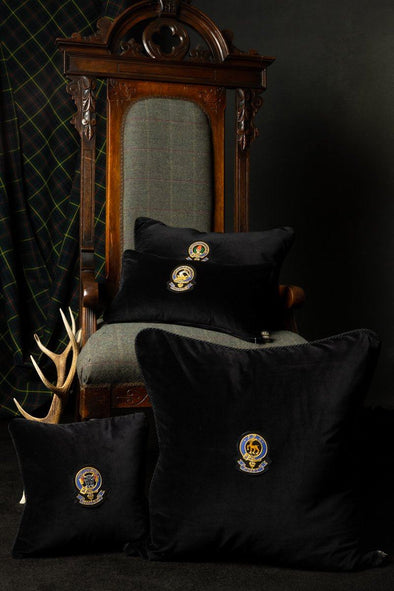Luxury Heraldic Velvet & Tartan Cushion (Non-wool tartans)
