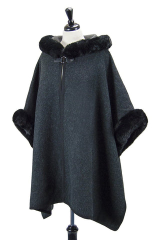 WESTEROS Cape with Luxury Faux Fur Trimmed Hood (Raven Black & Torridon)
