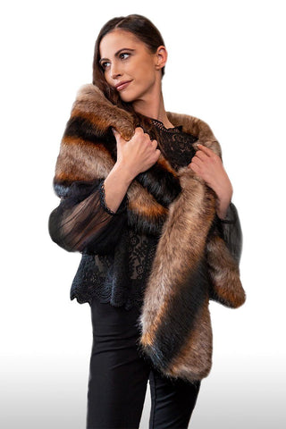 WINTERFEL Luxury Faux Fur Stole (Raven Black & Rust)