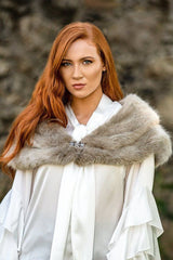 CATELYN Luxury Faux Fur Capelet (Stark Grey)