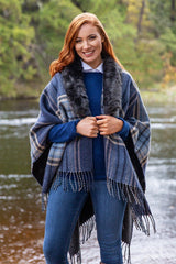 DORNE Reversible Wrap with Luxury Faux Fur Collar