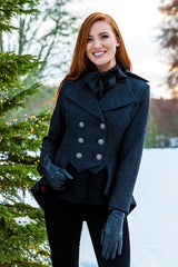 Great Scot Lady Mary Jacket Coat Black Torridon Tweed Victorian Peplum