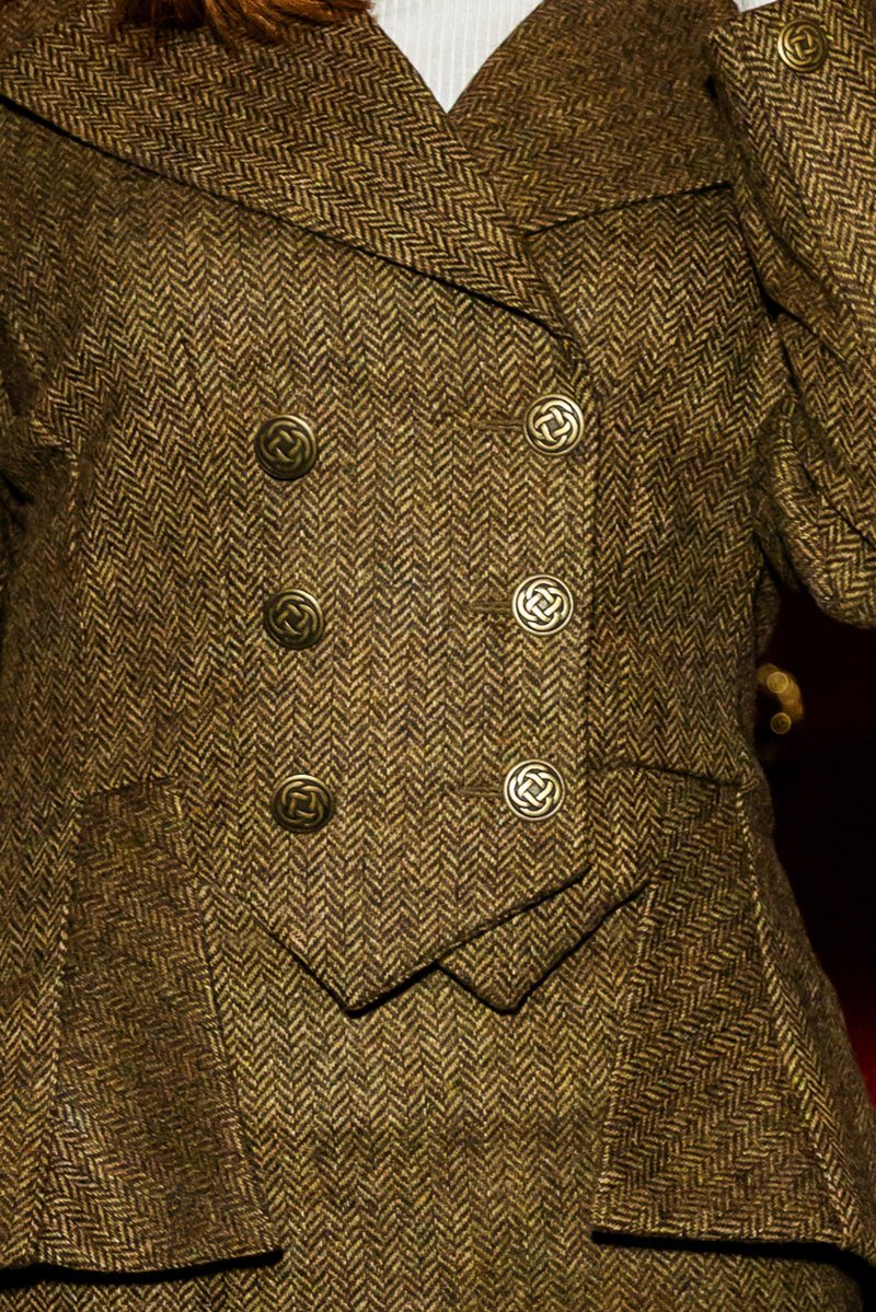 Great Scot Lady Mary Jacket Coat Brown Windsor Tweed Victorian Peplum Celtic Bronze Buttons