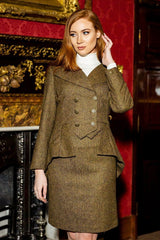 Great Scot Lady Mary Jacket Coat Brown Windsor Tweed Victorian Peplum