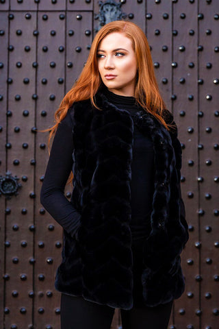 MEERA Luxury Faux Fur Gilet (Raven Black)