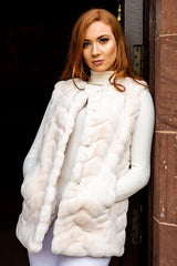 MEERA Luxury Faux Fur Gilet (Snow)