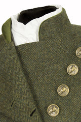 Great Scot Lieutenant Jacket Coat Helmsdale Green Herringbone Tweed Victorian Button Detail