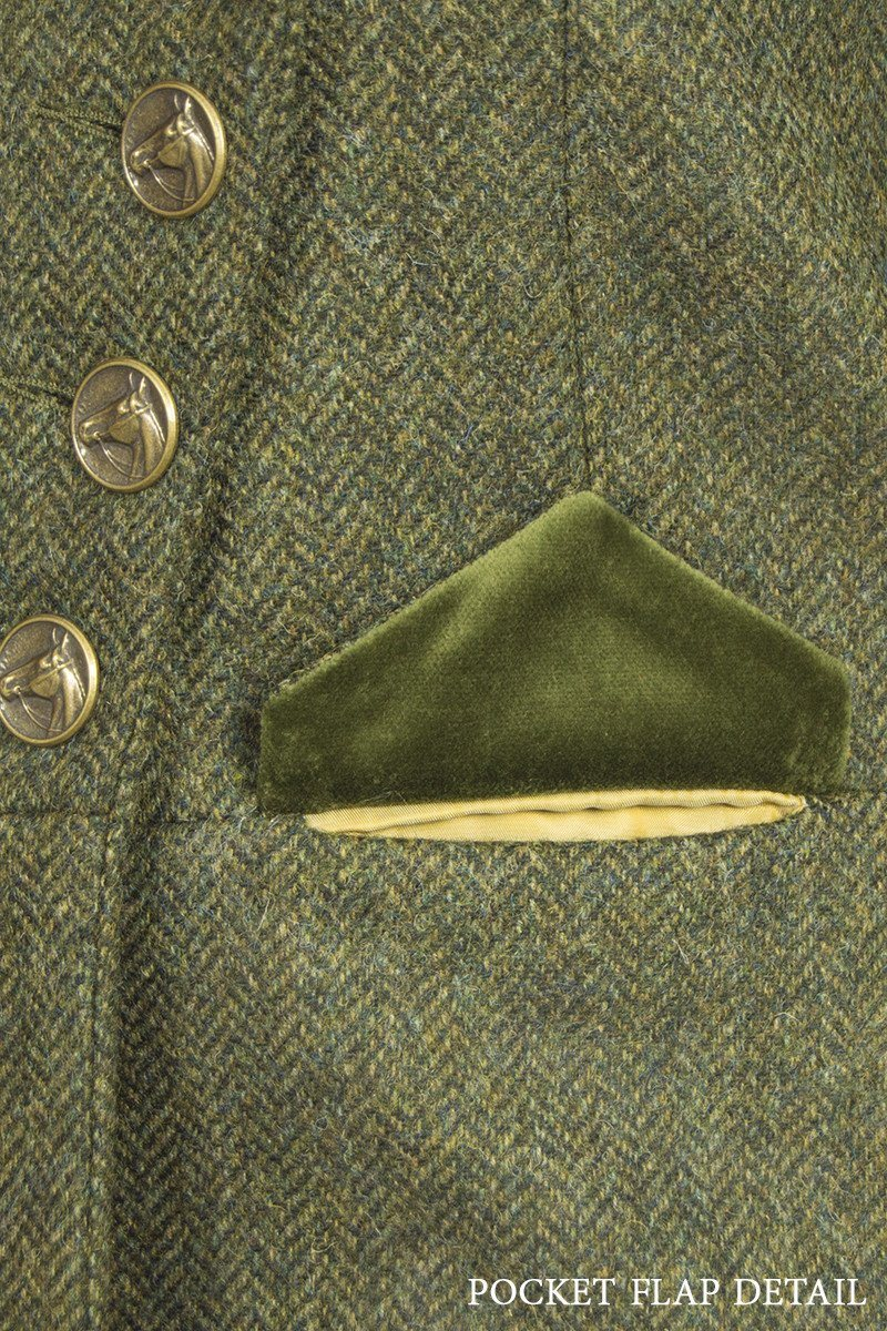 Great Scot Lieutenant Jacket Coat Helmsdale Green Herringbone Tweed Victorian Pocket Detail