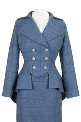 Great Scot Lady Mary Jacket Coat Blue Tweed with Dark Blue Check Victorian Peplum