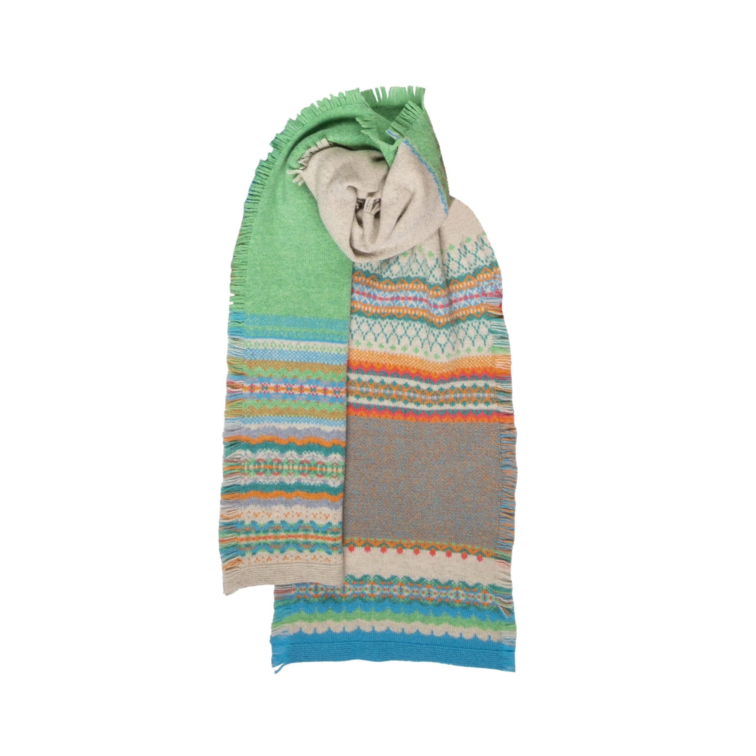 Fairisle Knit Fringed Scarf (Lismore)